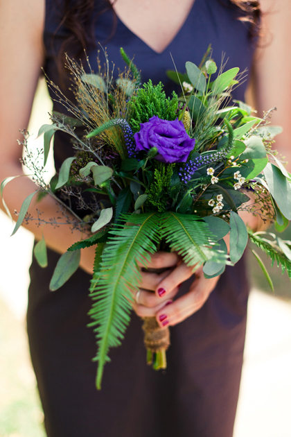 Purple wildflower bridesmaid bouquet