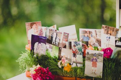 Wedding childhood photo display