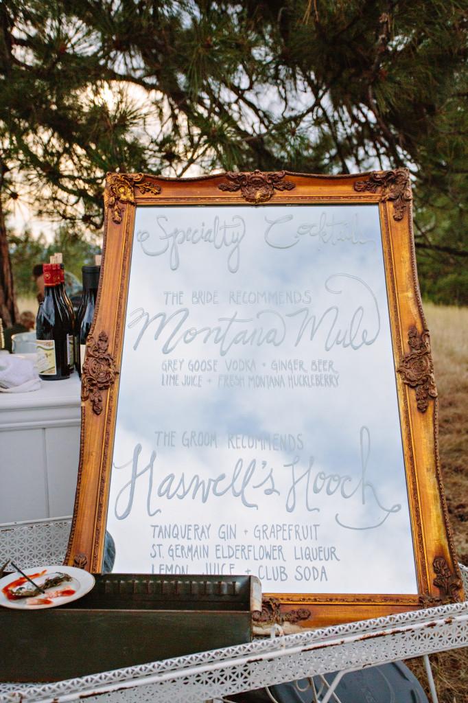 Vintage mirror bar menu | (c) Green Door Photography