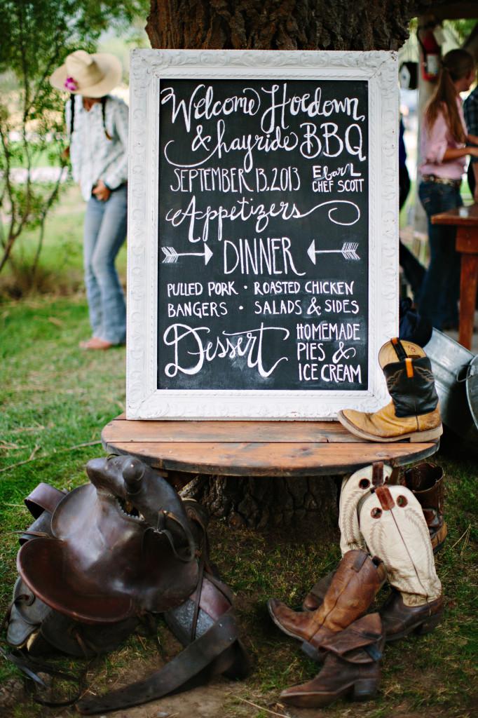 Chalkboard rehearsal dinner menu | (c) Green Door Photography
