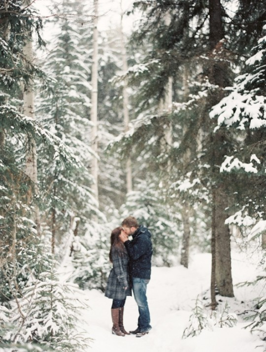 Winter Engagement Photos - Glacier Park Weddings, Montana