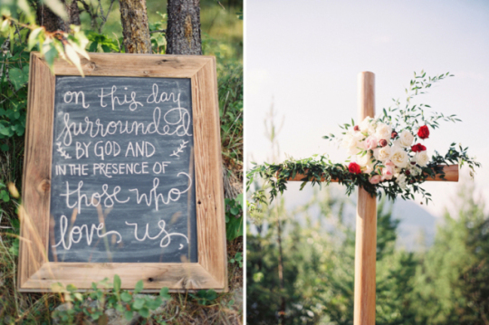 Montana wedding chalkboard signs at Glacier Park Weddings